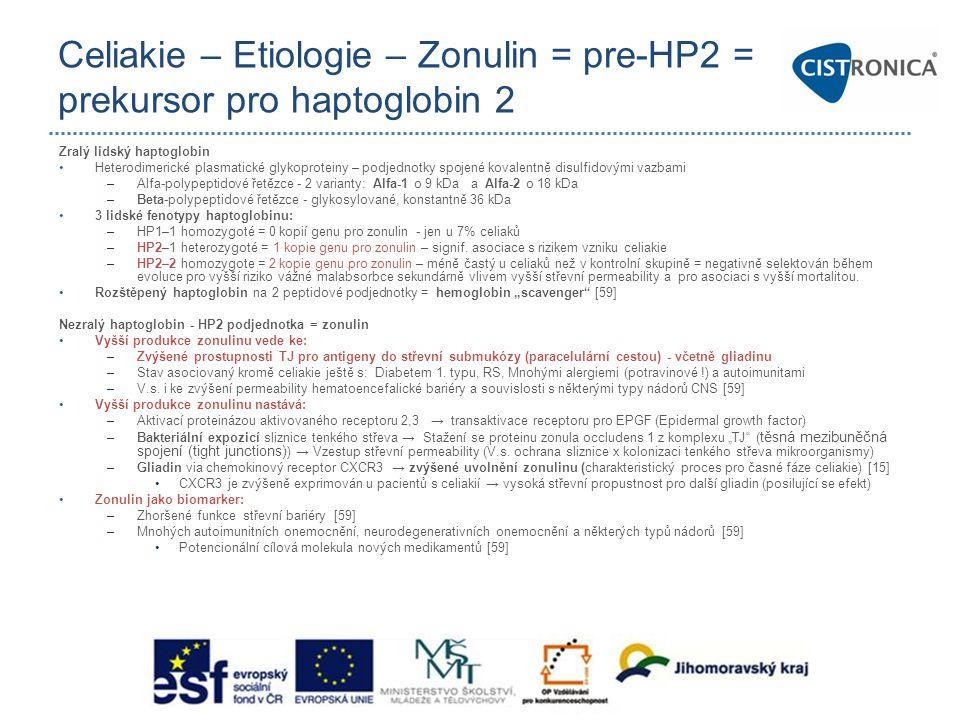 Celiakie – Etiologie – Zonulin = pre-HP2 = prekursor pro haptoglobin 2 Zralý lidský haptoglobin •Heterodimerické plasmatické glykoproteiny – podjednot