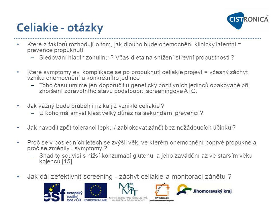Celiakie - otázky •Které z faktorů rozhodují o tom, jak dlouho bude onemocnění klinicky latentní = prevence propuknutí –Sledování hladin zonulinu ? Vč