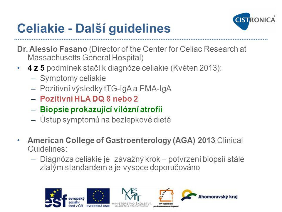 Celiakie - Další guidelines Dr. Alessio Fasano (Director of the Center for Celiac Research at Massachusetts General Hospital) •4 z 5 podmínek stačí k