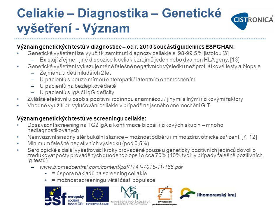 Celiakie – Diagnostika – Genetické vyšetření - Význam Význam genetických testů v diagnostice – od r. 2010 součástí guidelines ESPGHAN: •Genetické vyše