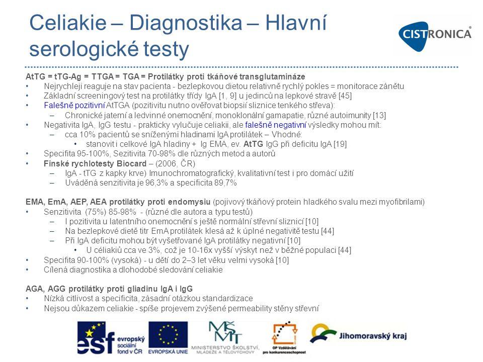 Celiakie – Diagnostika – Hlavní serologické testy AtTG = tTG-Ag = TTGA = TGA = Protilátky proti tkáňové transglutamináze •Nejrychleji reaguje na stav