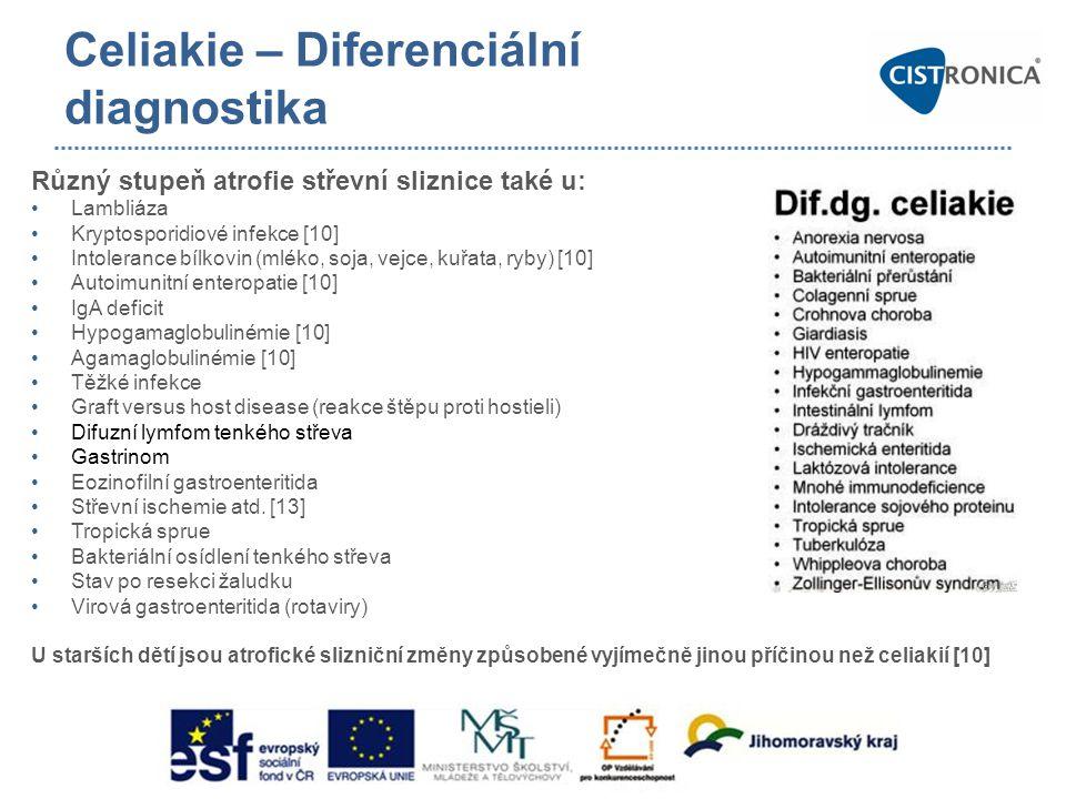 Celiakie – Diferenciální diagnostika Různý stupeň atrofie střevní sliznice také u: •Lambliáza •Kryptosporidiové infekce [10] •Intolerance bílkovin (ml