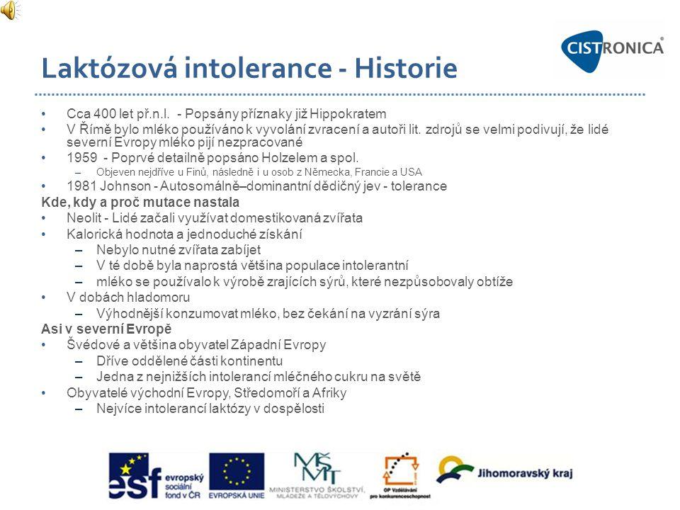 Laktózová intolerance - Historie •Cca 400 let př.n.l. - Popsány příznaky již Hippokratem •V Římě bylo mléko používáno k vyvolání zvracení a autoři lit