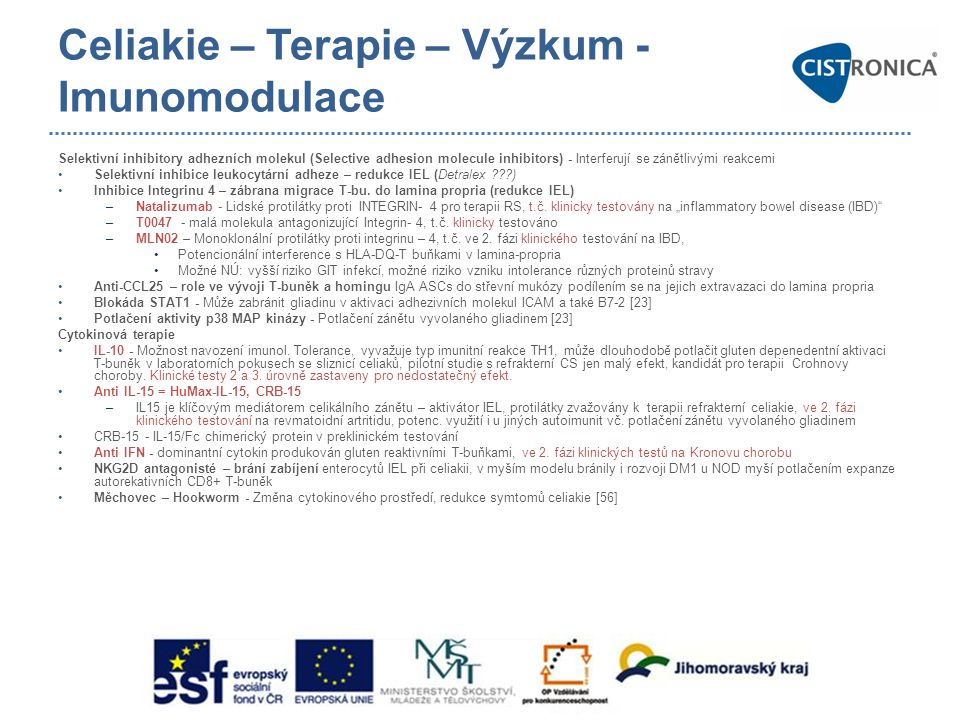 Celiakie – Terapie – Výzkum - Imunomodulace Selektivní inhibitory adhezních molekul (Selective adhesion molecule inhibitors) - Interferují se zánětliv