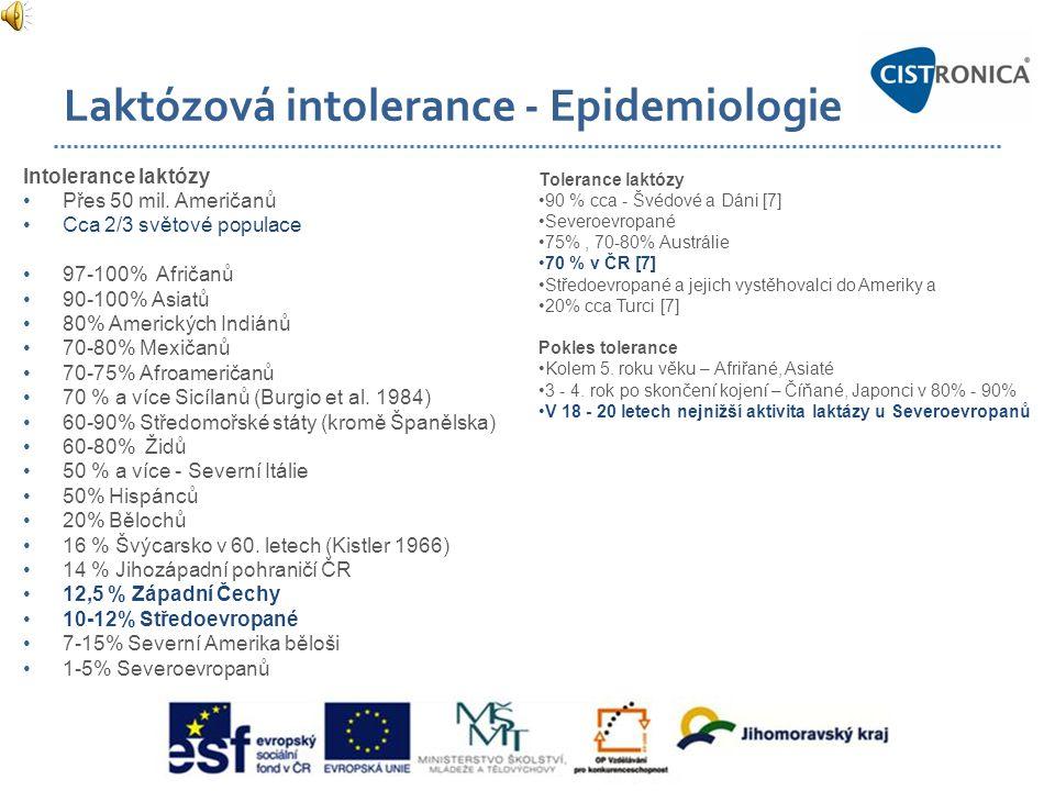 Laktózová intolerance - Epidemiologie Intolerance laktózy •Přes 50 mil. Američanů •Cca 2/3 světové populace •97-100% Afričanů •90-100% Asiatů •80% Ame