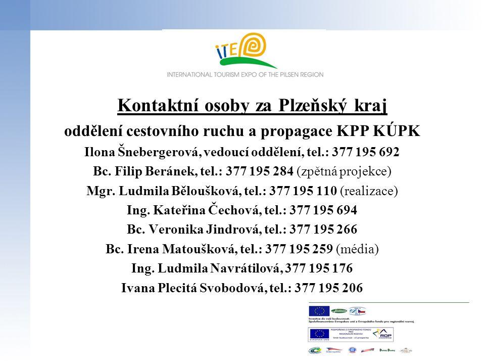 Kontaktní osoby za Plzeňský kraj oddělení cestovního ruchu a propagace KPP KÚPK Ilona Šnebergerová, vedoucí oddělení, tel.: 377 195 692 Bc. Filip Berá