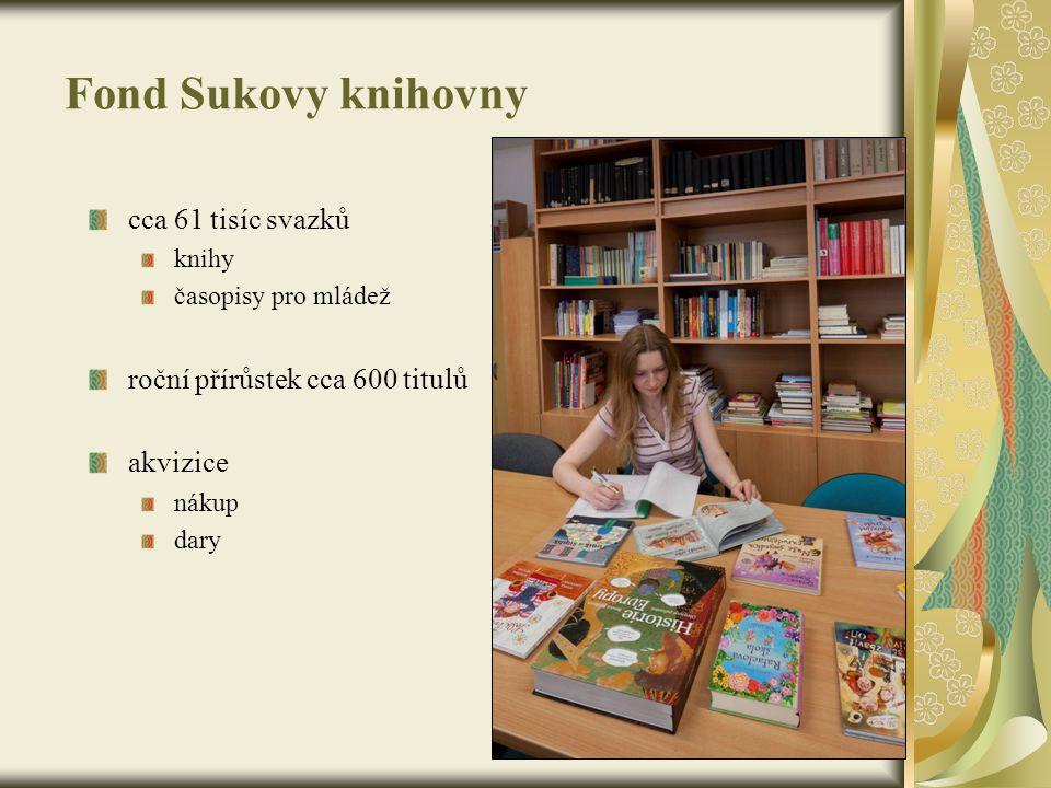 Fond Sukovy knihovny cca 61 tisíc svazků knihy časopisy pro mládež roční přírůstek cca 600 titulů akvizice nákup dary