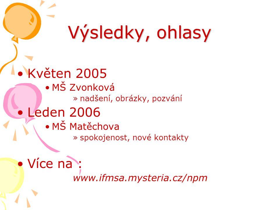 Výsledky, ohlasy •Květen 2005 •MŠ Zvonková »nadšení, obrázky, pozvání •Leden 2006 •MŠ Matěchova »spokojenost, nové kontakty •Více na : www.ifmsa.myste