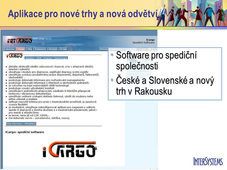 Aplikace pro nové trhy a nová odvětví • Software pro spediční společnosti • České a Slovenské a nový trh v Rakousku