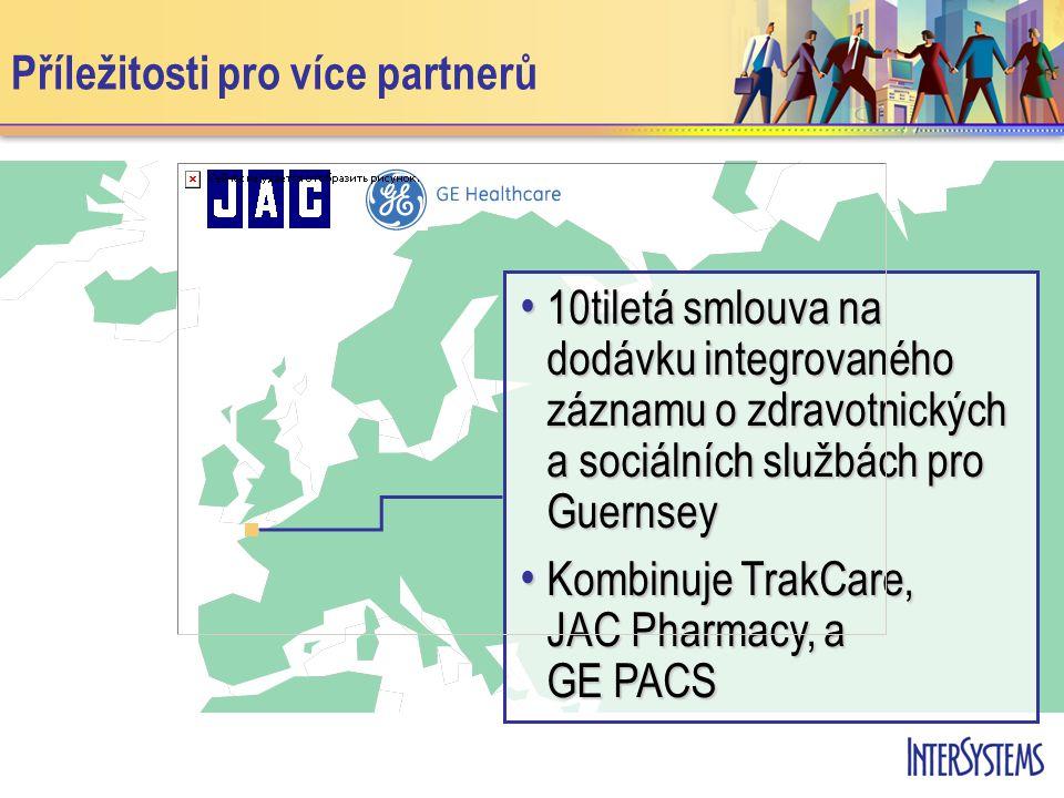 • 10tiletá smlouva na dodávku integrovaného záznamu o zdravotnických a sociálních službách pro Guernsey • Kombinuje TrakCare, JAC Pharmacy, a GE PACS
