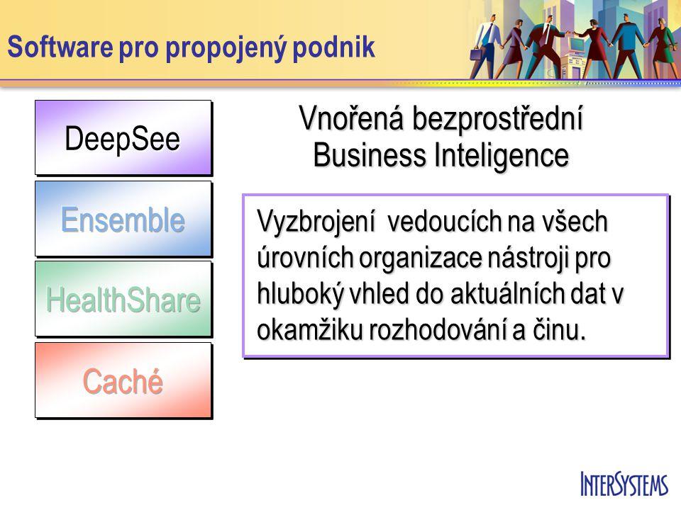 DeepSeeDeepSee Software pro propojený podnik Vnořená bezprostřední Business Inteligence Vyzbrojení vedoucích na všech úrovních organizace nástroji pro