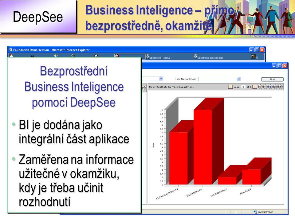 • BI je dodána jako integrální část aplikace • Zaměřena na informace užitečné v okamžiku, kdy je třeba učinit rozhodnutí • BI je dodána jako integrální část aplikace • Zaměřena na informace užitečné v okamžiku, kdy je třeba učinit rozhodnutí Bezprostřední Business Inteligence pomocí DeepSee DeepSeeDeepSee Business Inteligence – přímo, bezprostředně, okamžitě