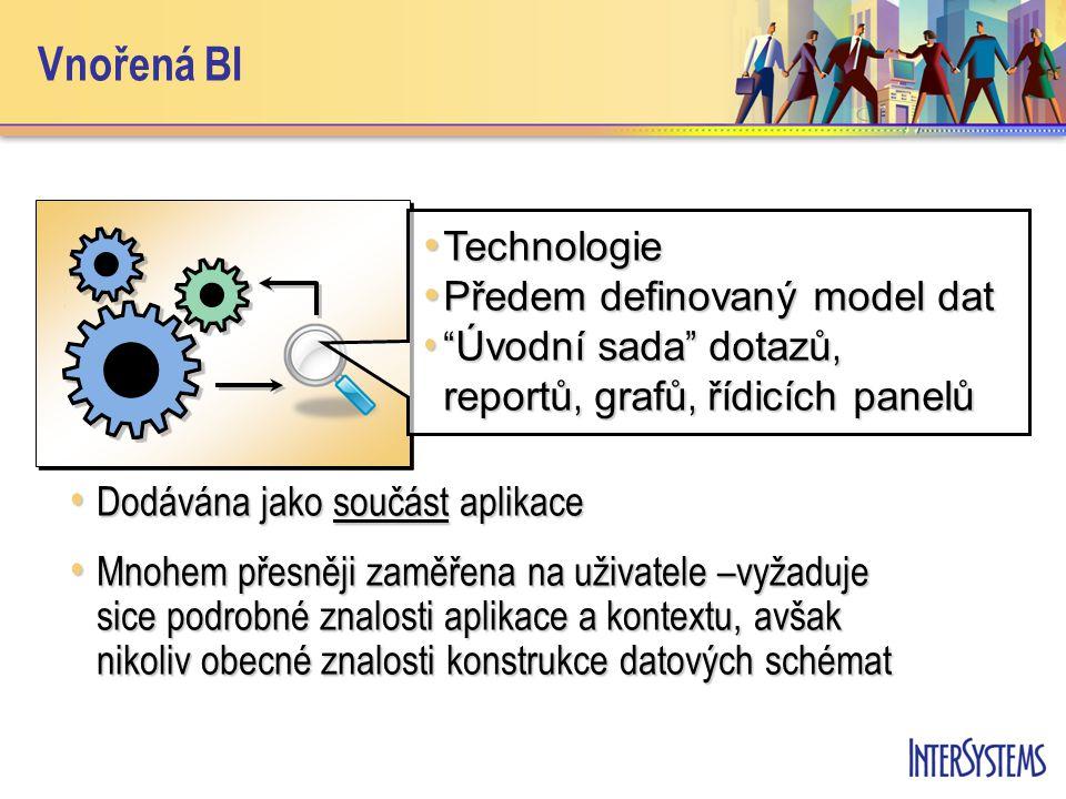 Vnořená BI • Dodávána jako součást aplikace • Mnohem přesněji zaměřena na uživatele –vyžaduje sice podrobné znalosti aplikace a kontextu, avšak nikoliv obecné znalosti konstrukce datových schémat • Technologie • Předem definovaný model dat • Úvodní sada dotazů, reportů, grafů, řídicích panelů