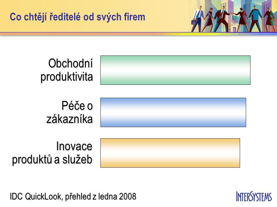 Co chtějí výkonní vedoucí od svých informatiků Potřebují rychlejší odezvu Zlepšit přístup k informacím Inovativnější ideje od IT IDC QuickLook, přehled z ledna 2008