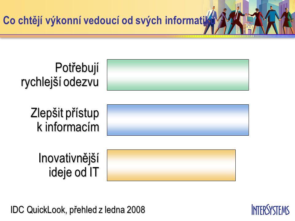 Co chtějí výkonní vedoucí od svých informatiků Potřebují rychlejší odezvu Zlepšit přístup k informacím Inovativnější ideje od IT IDC QuickLook, přehle