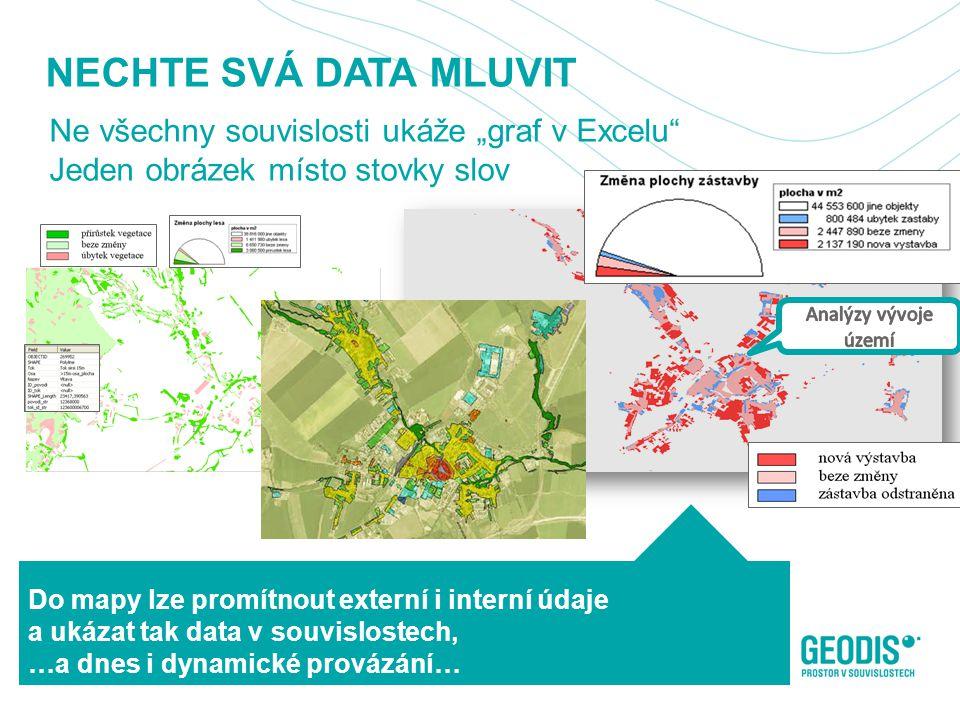 """NECHTE SVÁ DATA MLUVIT Ne všechny souvislosti ukáže """"graf v Excelu Jeden obrázek místo stovky slov 12 Do mapy lze promítnout externí i interní údaje a ukázat tak data v souvislostech, …a dnes i dynamické provázání…"""