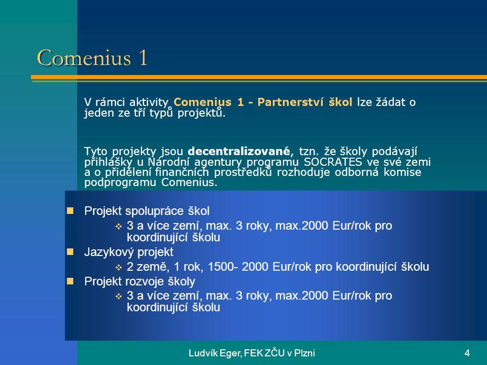 Ludvík Eger, FEK ZČU v Plzni4 Comenius 1 V rámci aktivity Comenius 1 - Partnerství škol lze žádat o jeden ze tří typů projektů.
