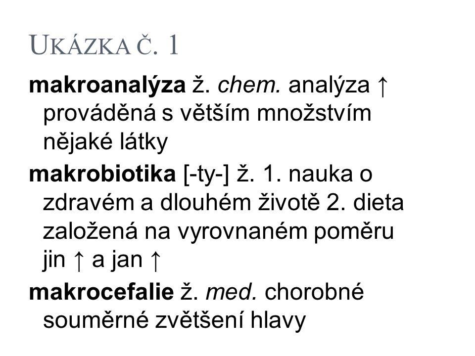 U KÁZKA Č. 1 makroanalýza ž. chem. analýza ↑ prováděná s větším množstvím nějaké látky makrobiotika [-ty-] ž. 1. nauka o zdravém a dlouhém životě 2. d