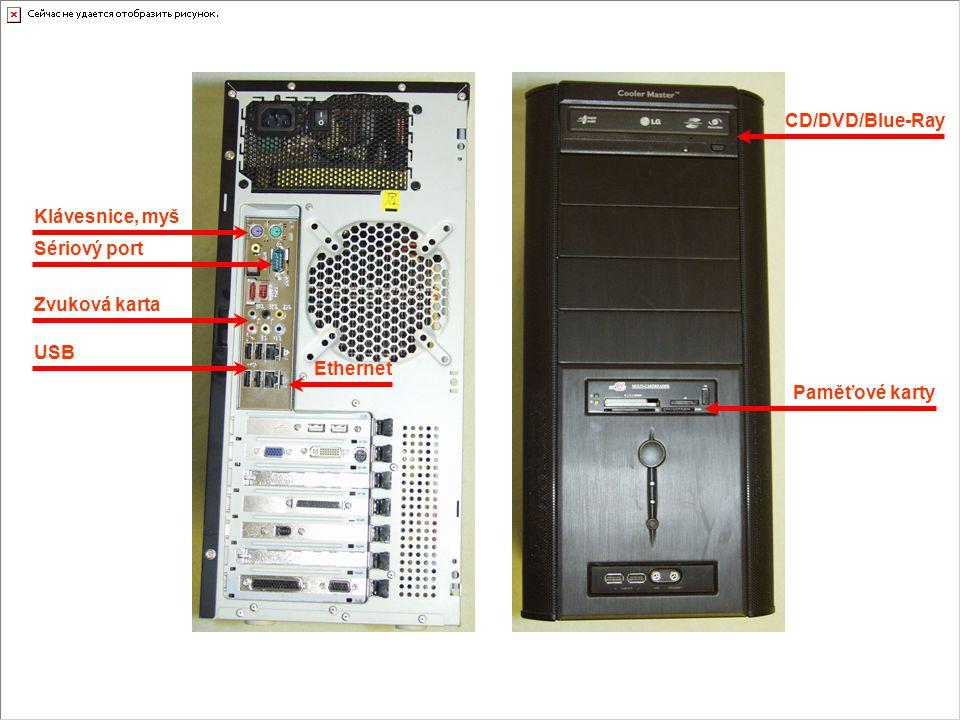 Klávesnice, myš Sériový port Zvuková karta USB Ethernet CD/DVD/Blue-Ray Paměťové karty