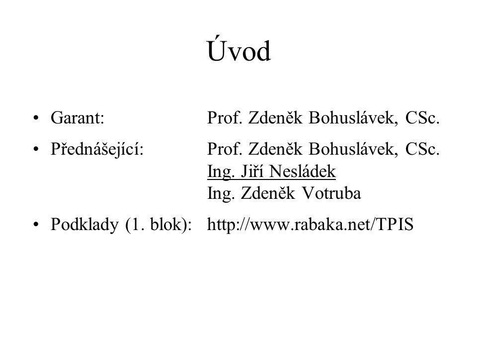 Úvod •Garant:Prof. Zdeněk Bohuslávek, CSc. •Přednášející:Prof. Zdeněk Bohuslávek, CSc. Ing. Jiří Nesládek Ing. Zdeněk Votruba •Podklady (1. blok):http