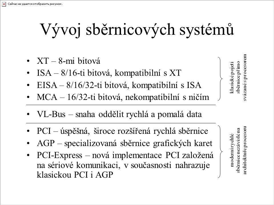 Vývoj sběrnicových systémů •XT – 8-mi bitová •ISA – 8/16-ti bitová, kompatibilní s XT •EISA – 8/16/32-ti bitová, kompatibilní s ISA •MCA – 16/32-ti bi