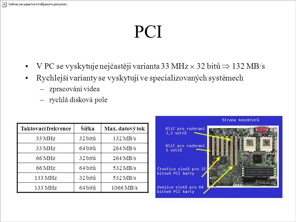 PCI •V PC se vyskytuje nejčastěji varianta 33 MHz  32 bitů  132 MB/s •Rychlejší varianty se vyskytují ve specializovaných systémech –zpracování vide