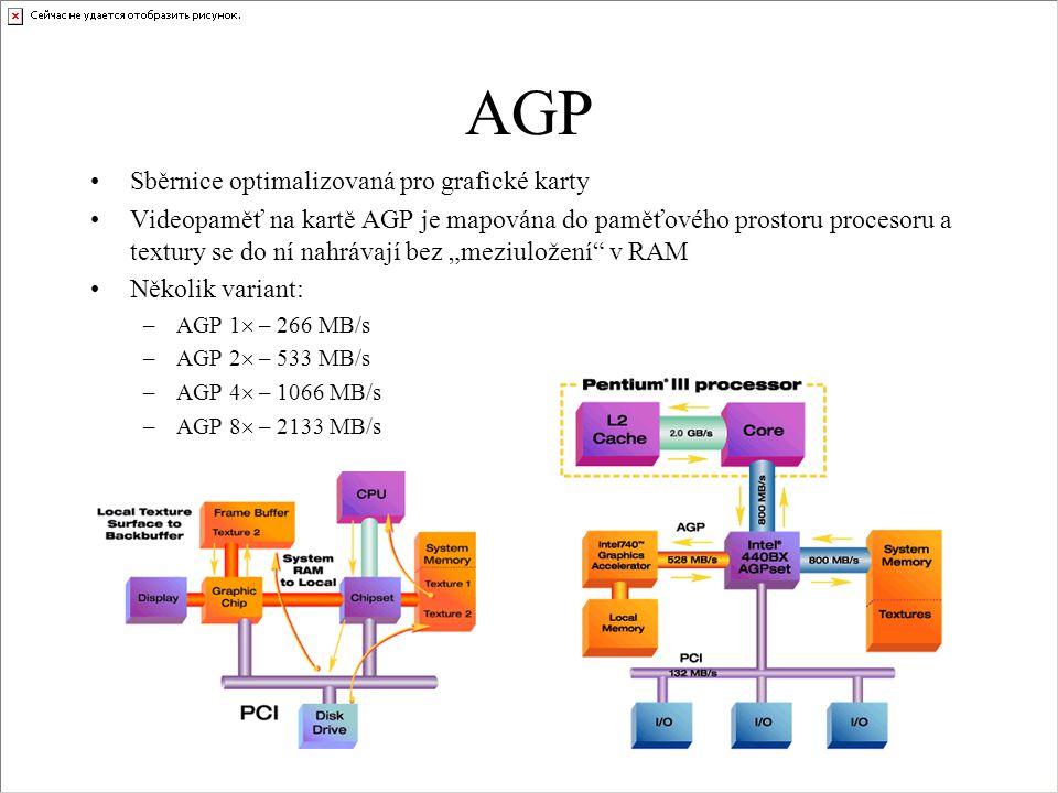 AGP •Sběrnice optimalizovaná pro grafické karty •Videopaměť na kartě AGP je mapována do paměťového prostoru procesoru a textury se do ní nahrávají bez