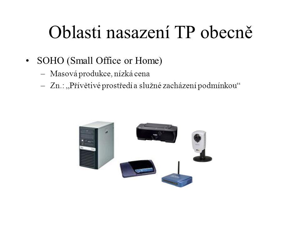 """Oblasti nasazení TP obecně •SOHO (Small Office or Home) –Masová produkce, nízká cena –Zn.: """"Přívětivé prostředí a služné zacházení podmínkou"""""""