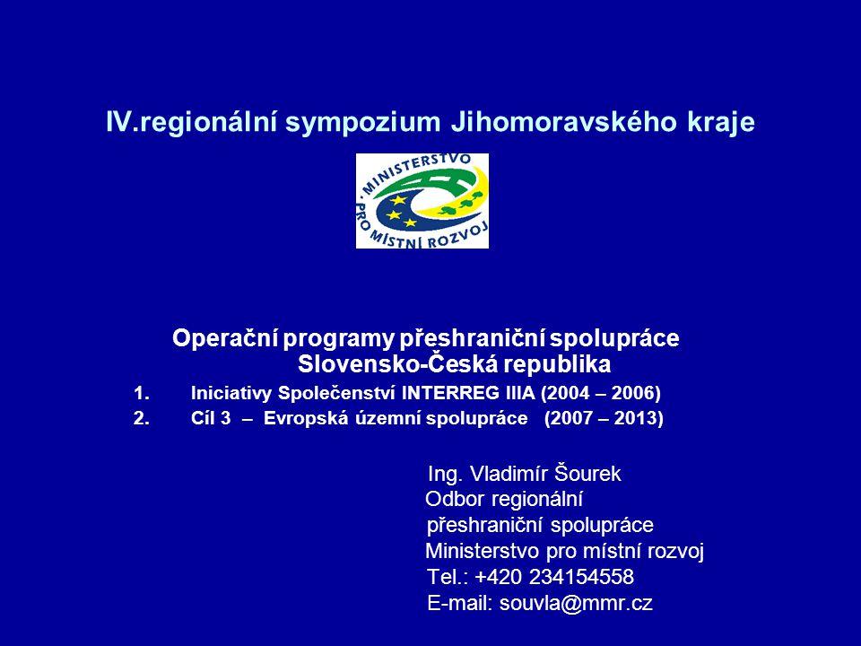 IV.regionální sympozium Jihomoravského kraje Operační programy přeshraniční spolupráce Slovensko-Česká republika 1.Iniciativy Společenství INTERREG II