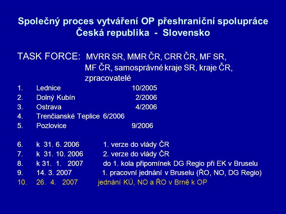 Společný proces vytváření OP přeshraniční spolupráce Česká republika - Slovensko TASK FORCE: MVRR SR, MMR ČR, CRR ČR, MF SR, MF ČR, samosprávné kraje