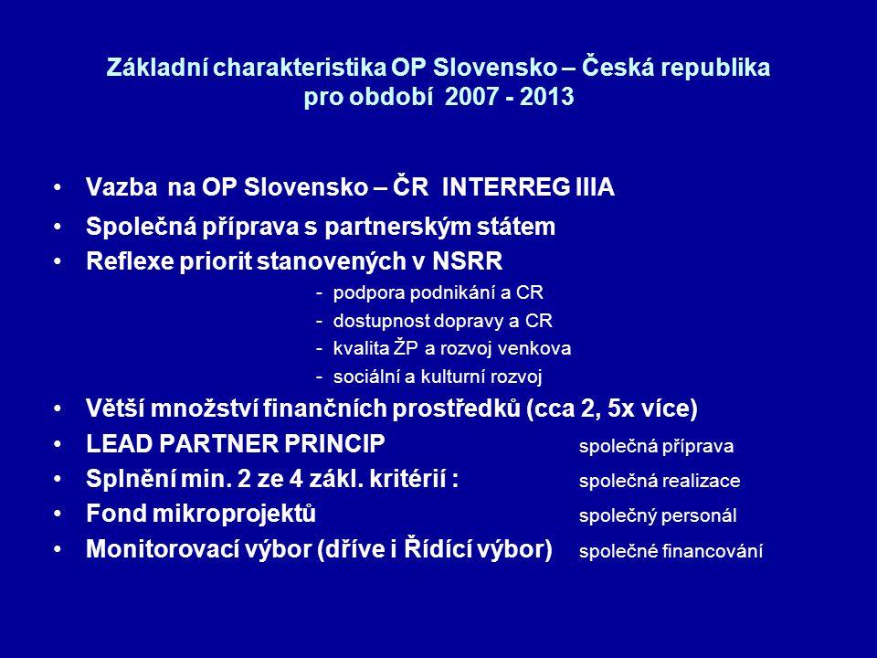 Základní charakteristika OP Slovensko – Česká republika pro období 2007 - 2013 •Vazba na OP Slovensko – ČR INTERREG IIIA •Společná příprava s partners