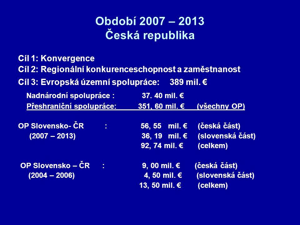 Období 2007 – 2013 Česká republika Cíl 1: Konvergence Cíl 2: Regionální konkurenceschopnost a zaměstnanost Cíl 3: Evropská územní spolupráce: 389 mil.