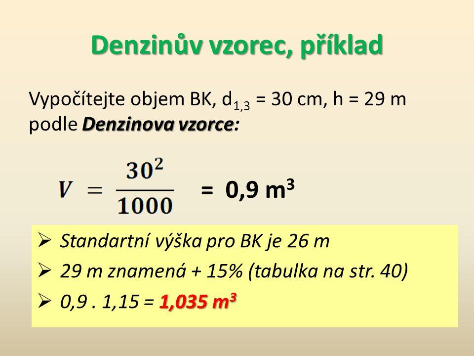 Metoda odhadu Denzinův vzorec Používá se Denzinův vzorec  Přesně platí pro hf 1,3 = 12,74 m, tedy pro stromy asi 25-26 m vysoké. Pro jinou výšku je p