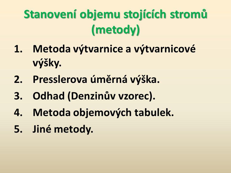 Stanovení objemu stojících stromů Základní pojmy: V dendrometrii se nejčastěji používá objem hroubí V hroubí stromu = V hroubí kmene + V hroubí větví