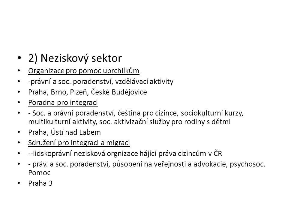 • 2) Neziskový sektor • Organizace pro pomoc uprchlíkům • -právní a soc. poradenství, vzdělávací aktivity • Praha, Brno, Plzeň, České Budějovice • Por