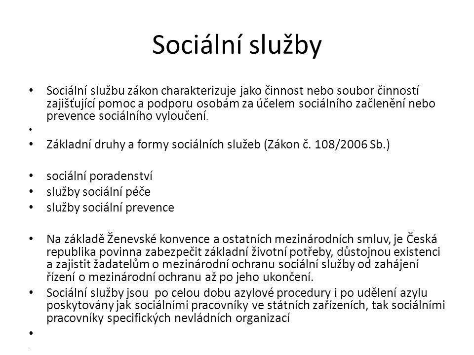 Sociální služby • Sociální službu zákon charakterizuje jako činnost nebo soubor činností zajišťující pomoc a podporu osobám za účelem sociálního začle