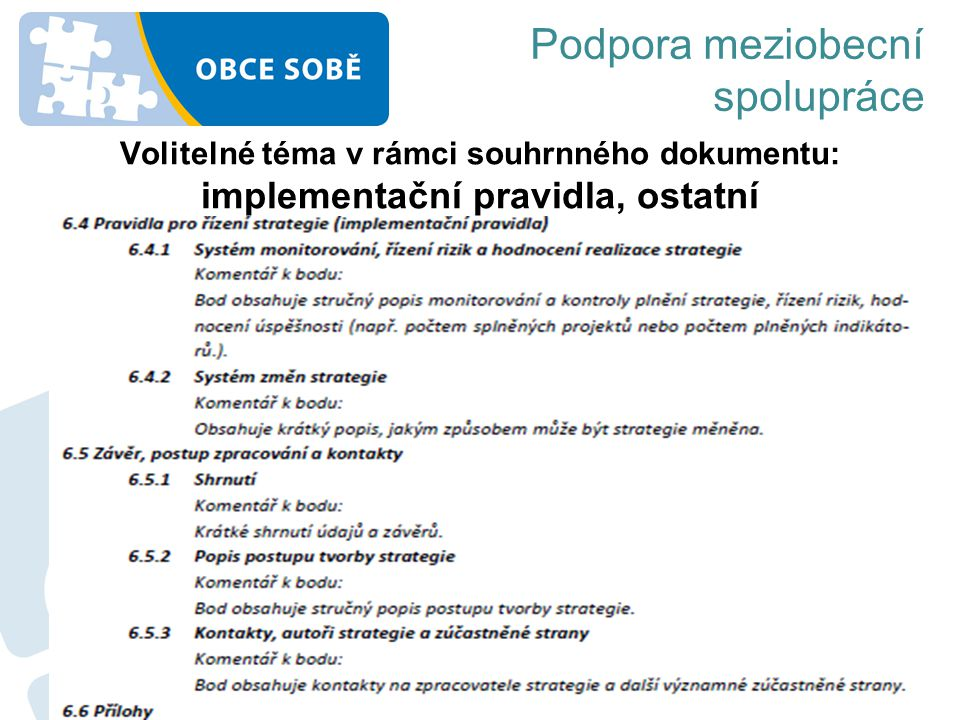 Volitelné téma v rámci souhrnného dokumentu: implementační pravidla, ostatní Podpora meziobecní spolupráce