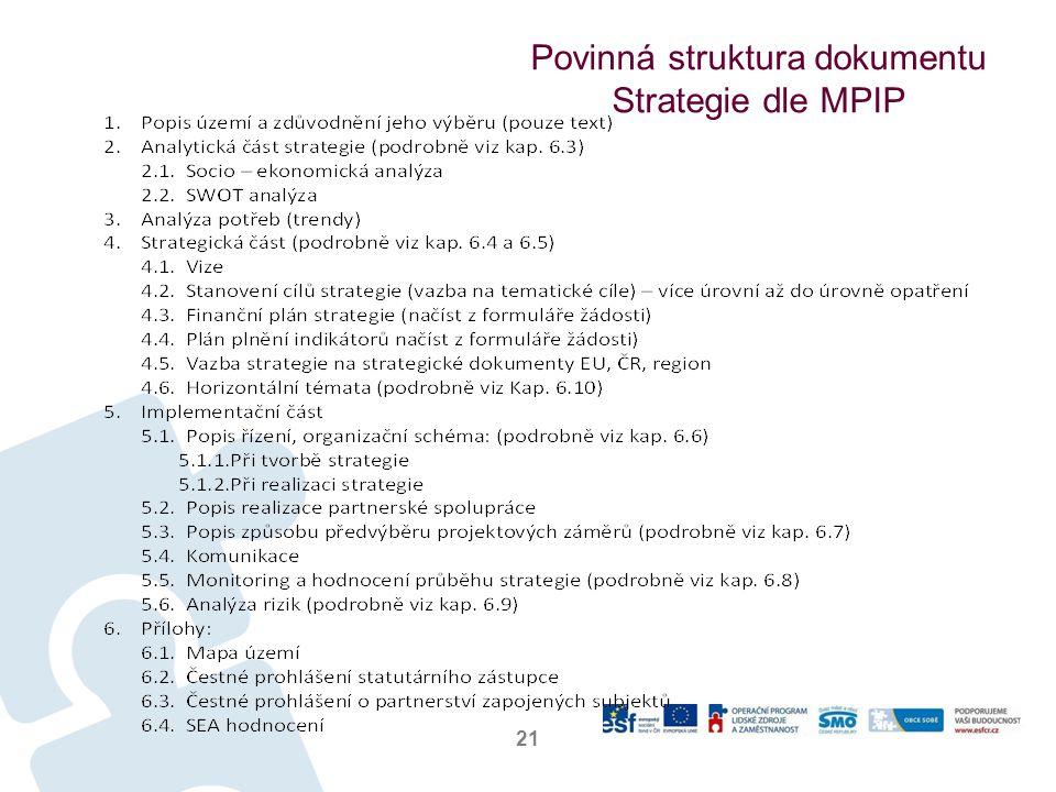 Povinná struktura dokumentu Strategie dle MPIP 21