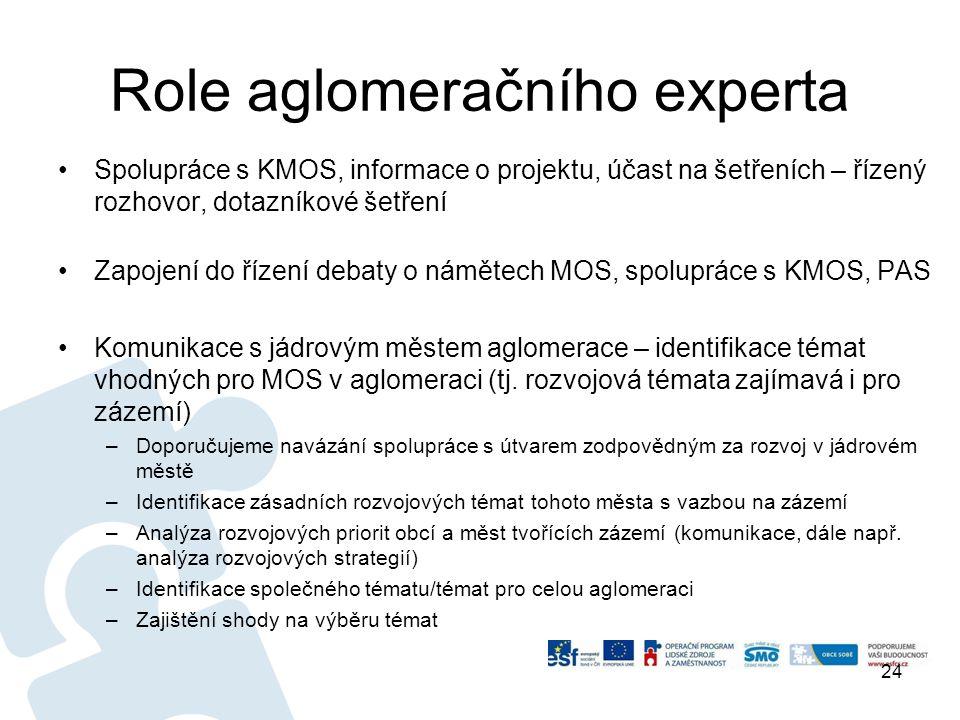 Role aglomeračního experta •Spolupráce s KMOS, informace o projektu, účast na šetřeních – řízený rozhovor, dotazníkové šetření •Zapojení do řízení debaty o námětech MOS, spolupráce s KMOS, PAS •Komunikace s jádrovým městem aglomerace – identifikace témat vhodných pro MOS v aglomeraci (tj.