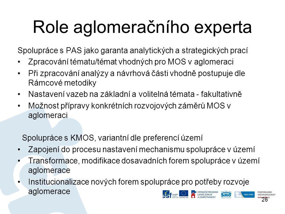Role aglomeračního experta Spolupráce s PAS jako garanta analytických a strategických prací •Zpracování tématu/témat vhodných pro MOS v aglomeraci •Při zpracování analýzy a návrhová části vhodně postupuje dle Rámcové metodiky •Nastavení vazeb na základní a volitelná témata - fakultativně •Možnost přípravy konkrétních rozvojových záměrů MOS v aglomeraci Spolupráce s KMOS, variantní dle preferencí území •Zapojení do procesu nastavení mechanismu spolupráce v území •Transformace, modifikace dosavadních forem spolupráce v území aglomerace •Institucionalizace nových forem spolupráce pro potřeby rozvoje aglomerace 26