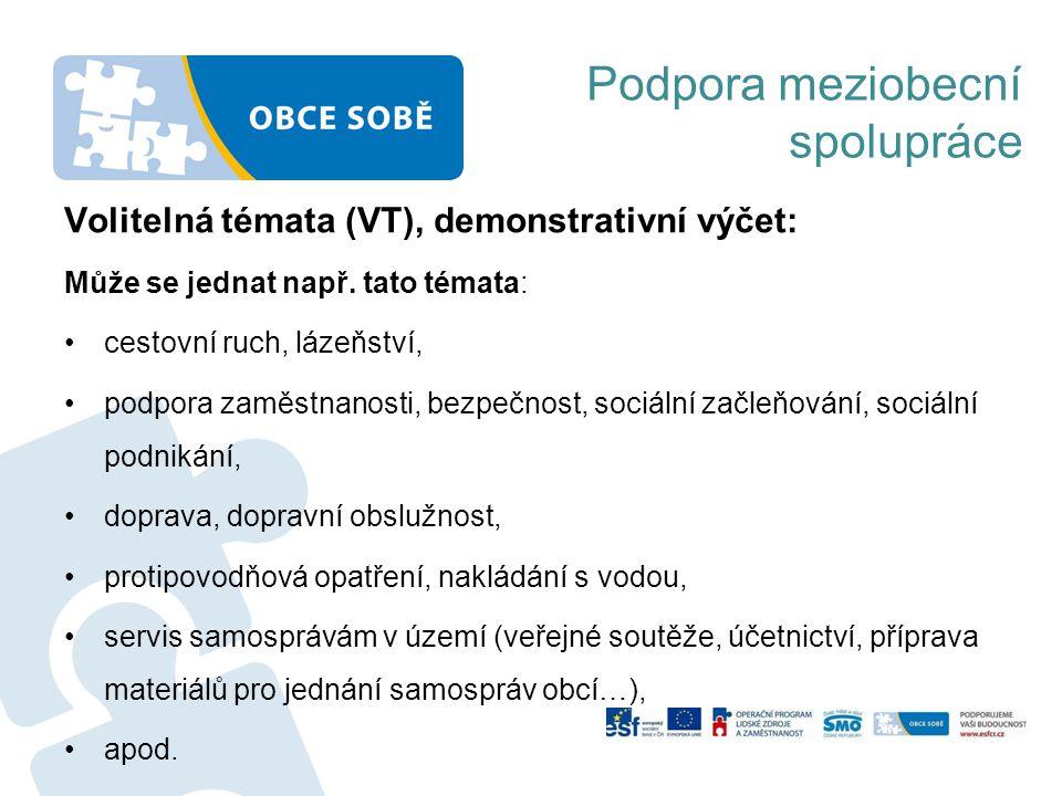 Volitelná témata (VT), demonstrativní výčet: Může se jednat např.