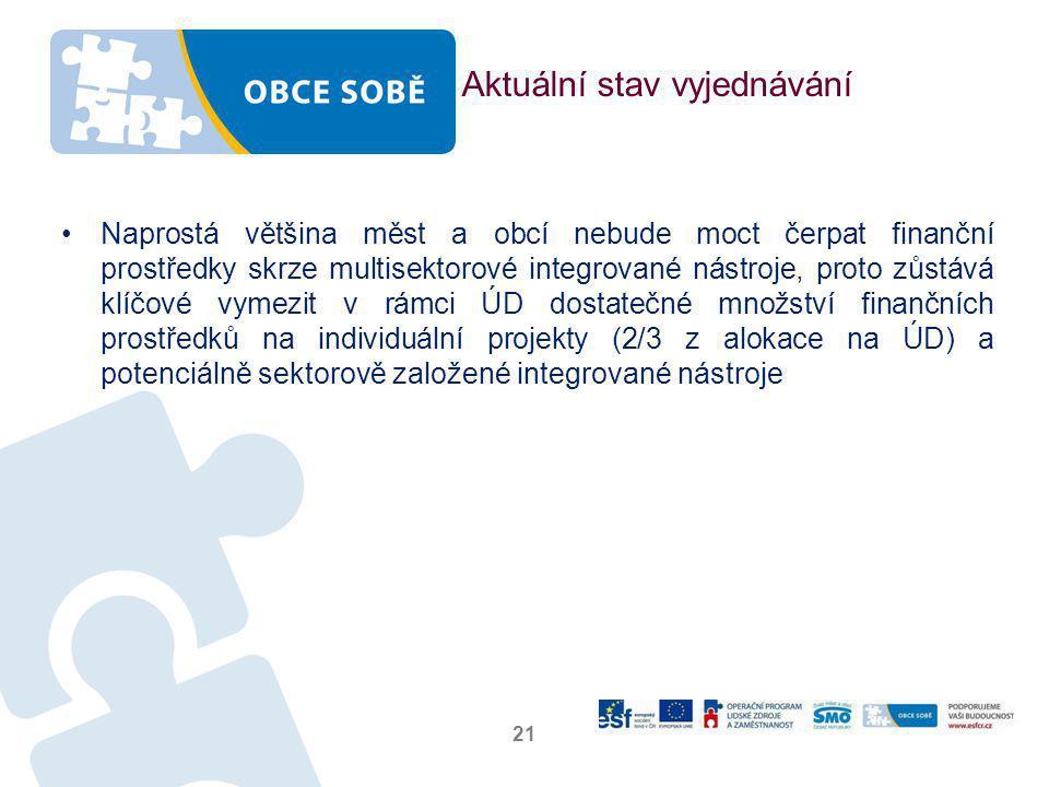 Aktuální stav vyjednávání •Naprostá většina měst a obcí nebude moct čerpat finanční prostředky skrze multisektorové integrované nástroje, proto zůstává klíčové vymezit v rámci ÚD dostatečné množství finančních prostředků na individuální projekty (2/3 z alokace na ÚD) a potenciálně sektorově založené integrované nástroje 21