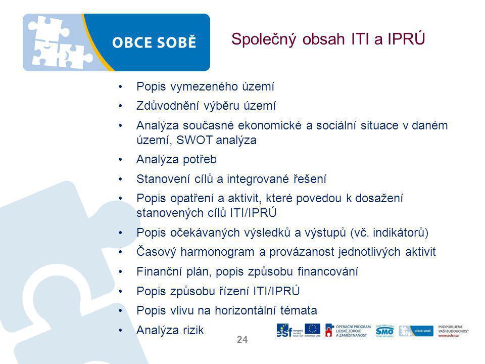 Společný obsah ITI a IPRÚ •Popis vymezeného území •Zdůvodnění výběru území •Analýza současné ekonomické a sociální situace v daném území, SWOT analýza •Analýza potřeb •Stanovení cílů a integrované řešení •Popis opatření a aktivit, které povedou k dosažení stanovených cílů ITI/IPRÚ •Popis očekávaných výsledků a výstupů (vč.