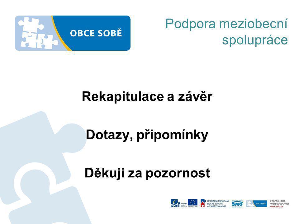 Rekapitulace a závěr Dotazy, připomínky Děkuji za pozornost Podpora meziobecní spolupráce