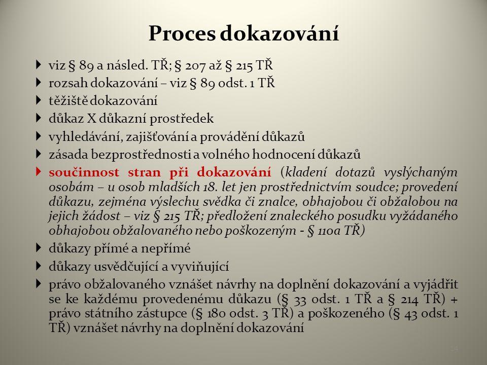 Proces dokazování  viz § 89 a násled.TŘ; § 207 až § 215 TŘ  rozsah dokazování – viz § 89 odst.
