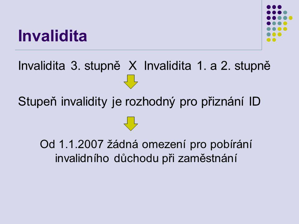 Invalidita Invalidita 3. stupně X Invalidita 1. a 2. stupně Stupeň invalidity je rozhodný pro přiznání ID Od 1.1.2007 žádná omezení pro pobírání inval