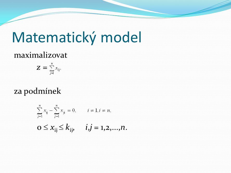 Matematický model maximalizovat z = za podmínek 0  x ij  k ij, i,j = 1,2,...,n.