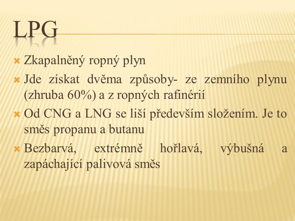  Zkapalněný ropný plyn  Jde získat dvěma způsoby- ze zemního plynu (zhruba 60%) a z ropných rafinérií  Od CNG a LNG se liší především složením. Je