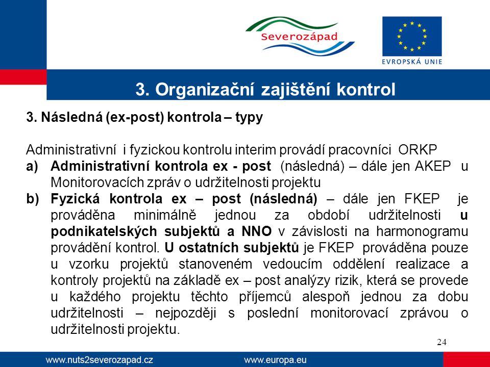 3. Organizační zajištění kontrol 3. Následná (ex-post) kontrola – typy Administrativní i fyzickou kontrolu interim provádí pracovníci ORKP a)Administr