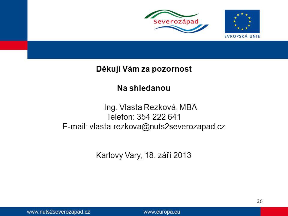 Děkuji Vám za pozornost Na shledanou Ing. Vlasta Rezková, MBA Telefon: 354 222 641 E-mail: vlasta.rezkova@nuts2severozapad.cz Karlovy Vary, 18. září 2